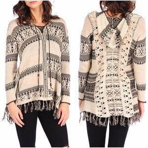 NWT Vintage Havana Hooded Fringe Baja Sweater